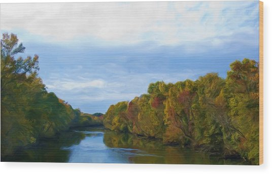 Saluda River In The Fall Wood Print