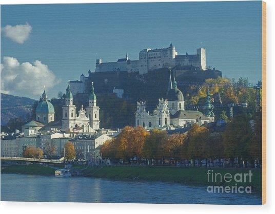 Salzburg Austria In Fall Wood Print