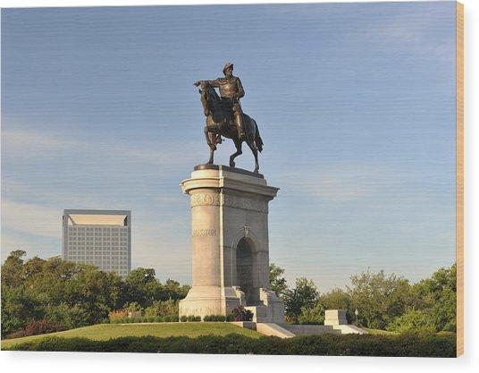 Sam Houston Statue In Hermann Park Wood Print by Aimintang