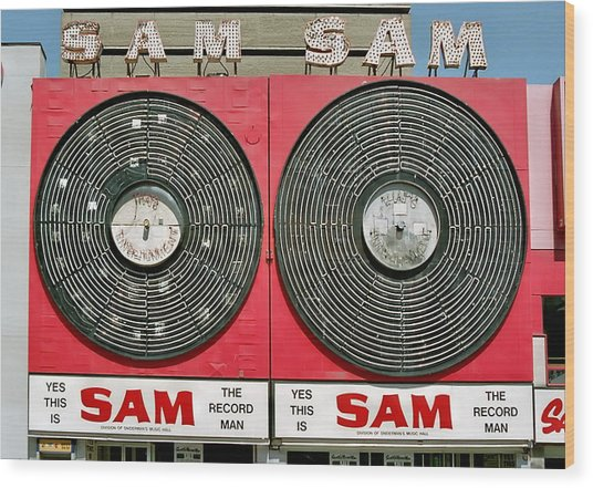 Sam The Record Man Wood Print