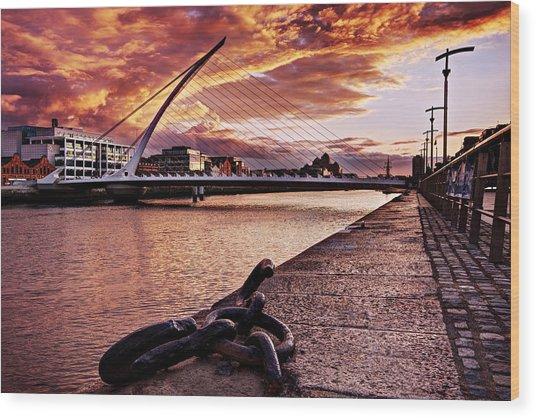 Wood Print featuring the photograph Samuel Beckett Bridge At Dusk - Dublin by Barry O Carroll