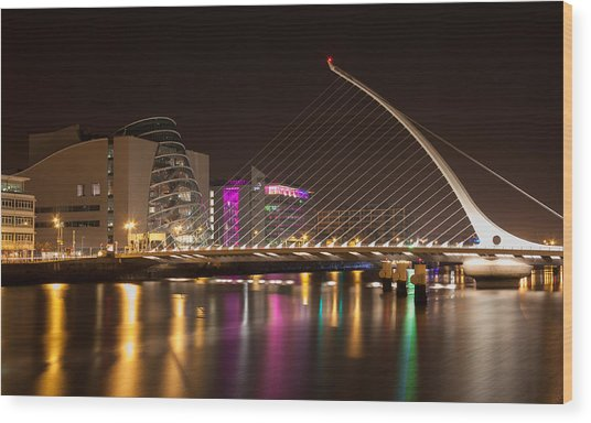 Samuel Beckett Bridge In Dublin City Wood Print
