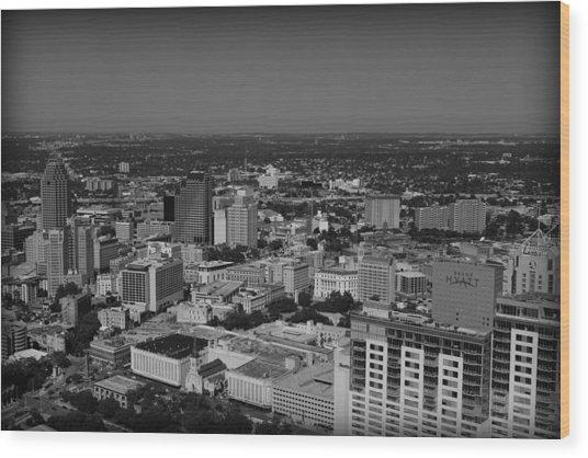 San Antonio - Bw Wood Print