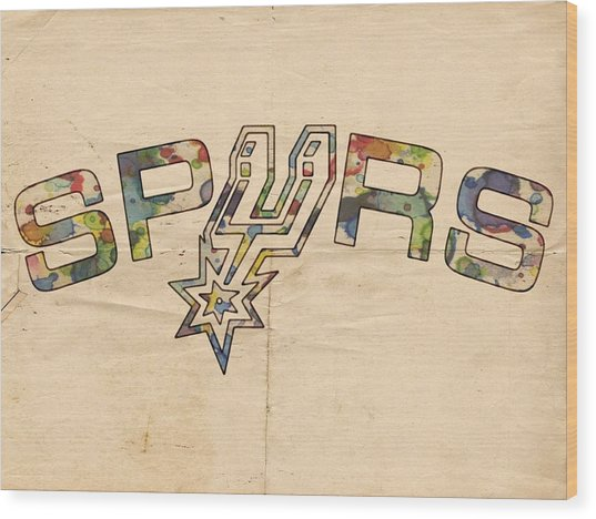 San Antonio Spurs Retro Poster Wood Print