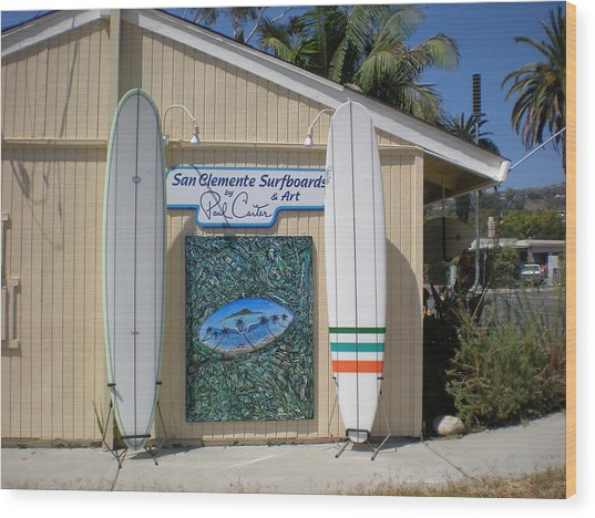 San Clemente Surfboards Wood Print