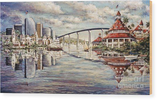 San Diego And Coronado Heritage Wood Print