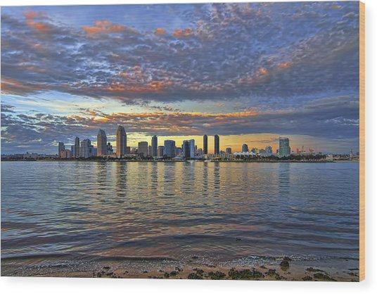 San Diego Colorful Clouds Wood Print