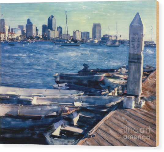 San Diego Docks Wood Print