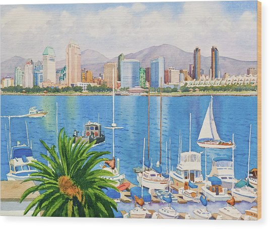 San Diego Skyline Wood Print by Mary Helmreich