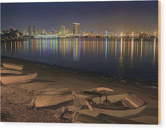 San Diego Harbor Lights Wood Print
