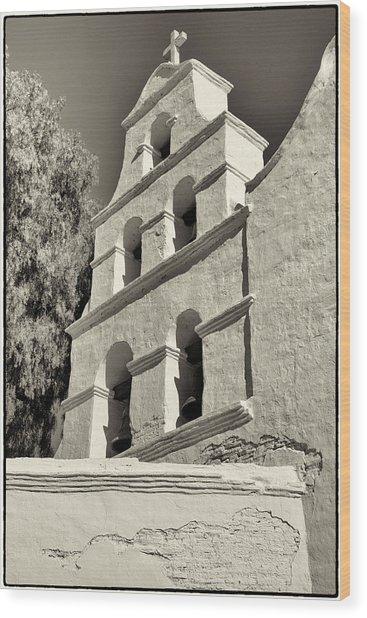 San Diego Mission Wood Print by Jeanne Hoadley
