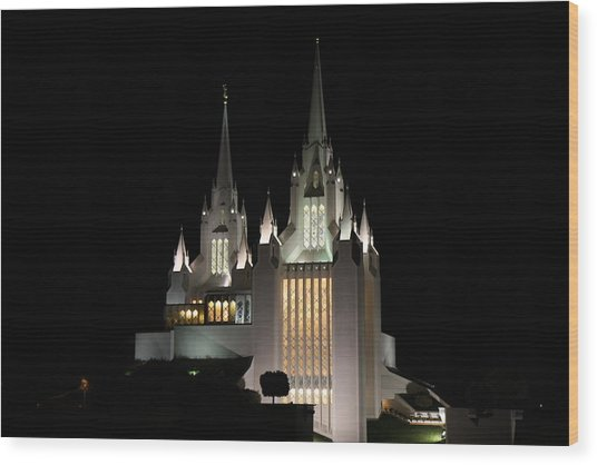 San Diego Mormon Temple At Night Wood Print