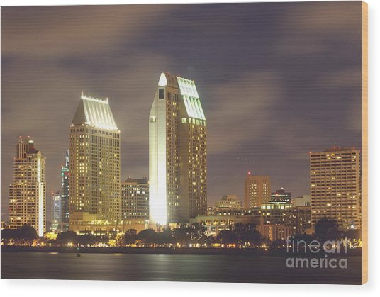 San Diego Nightscape  1-0635 Wood Print by Stephen Parker