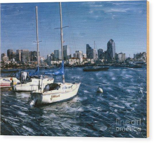 San Diego Sailboats Wood Print