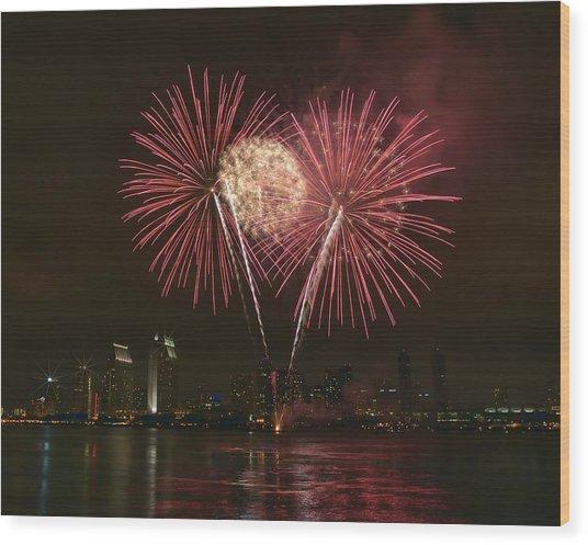 San Diego Skyline Fireworks Wood Print