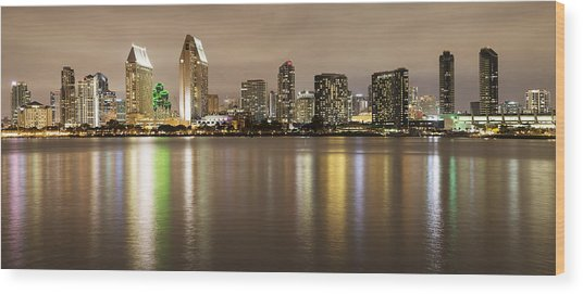 San Diego Skyline Panoramic 2 Wood Print