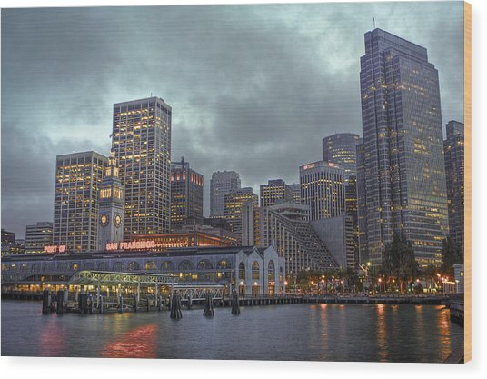 San Francisco Port All Lit Up Wood Print