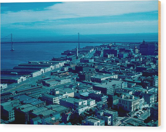 San Francisco 10 1955 Wood Print by Cumberland Warden