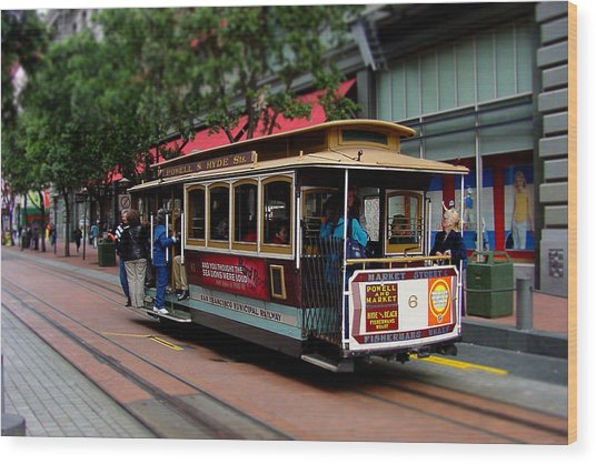 San Francisco Cable Car Wood Print by SFPhotoStore