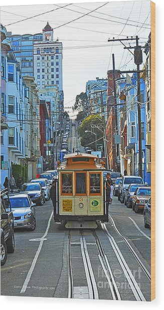 San Francisco Cable Car To Powell And Market Streets Wood Print