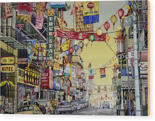 San Francisco Chinatown Wood Print