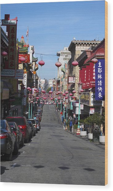 San Francisco Chinatown Wood Print by Christopher Winkler