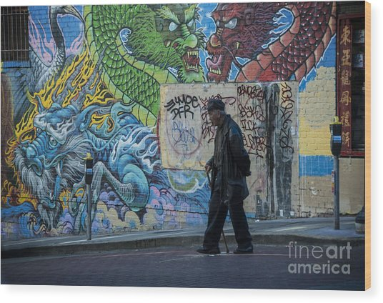 San Francisco Chinatown Street Art Wood Print
