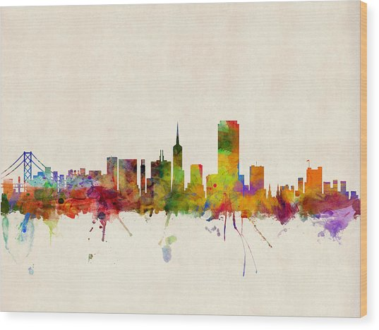 San Francisco City Skyline Wood Print