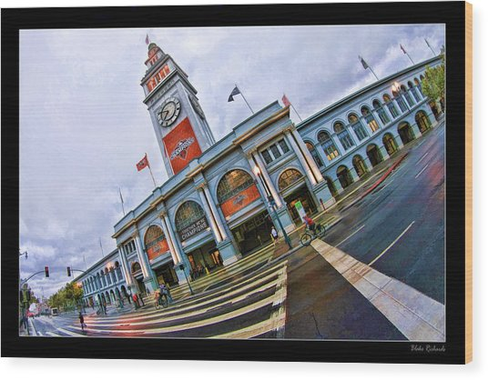 San Francisco Ferry Building Giants Decorations. Wood Print