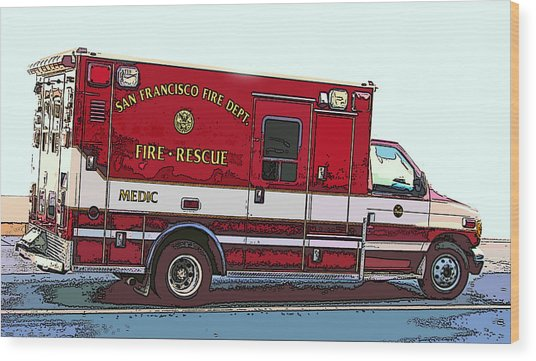 San Francisco Fire Dept. Medic Vehicle Wood Print