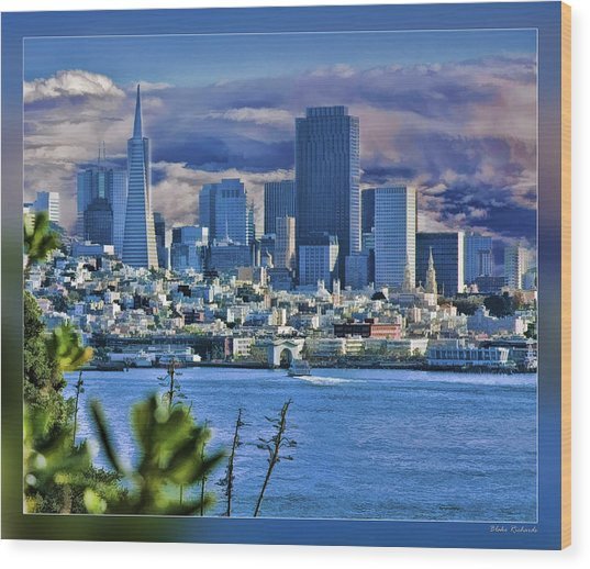 San Francisco From Alcatraz Wood Print