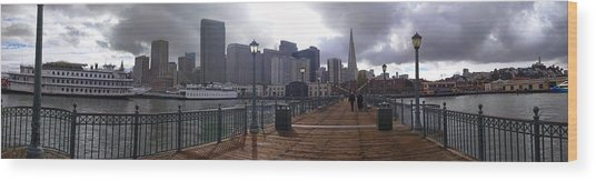 San Francisco From Pier Wood Print