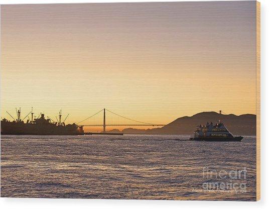 San Francisco Harbor Golden Gate Bridge At Sunset Wood Print