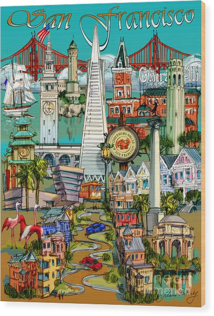San Francisco Illustration Wood Print