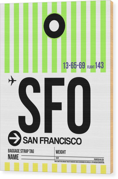 San Francisco Luggage Tag Poster 2 Wood Print