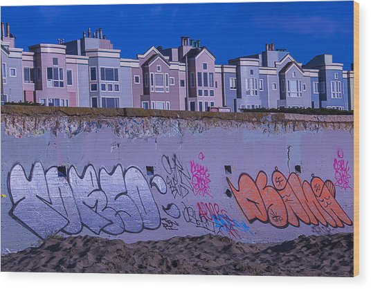 San Francisco Sea Wall Wood Print