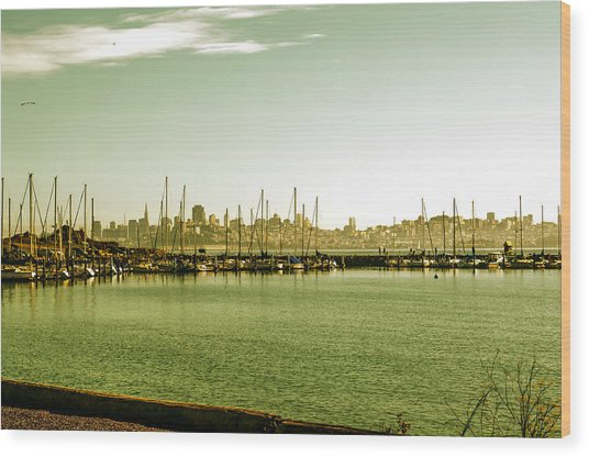 San Francisco Skyline Day Wood Print by SFPhotoStore
