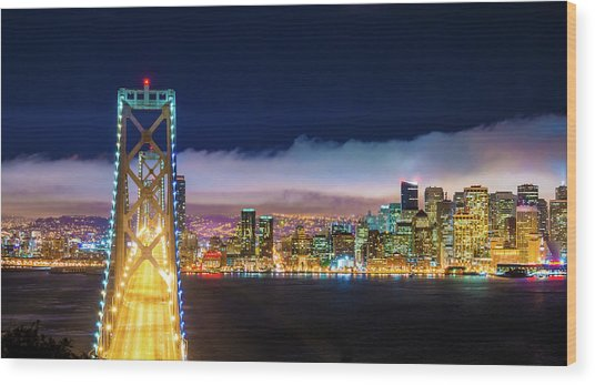 San Francisco Skyline Panorama And Wood Print by Dszc