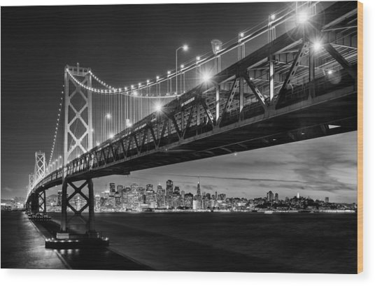 San Francisco - Under The Bay Bridge - Black And White Wood Print by Alexis Birkill
