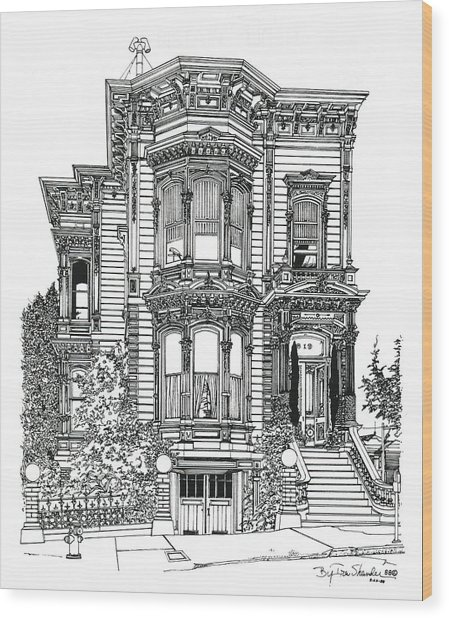 San Francisco Victorian   Wood Print