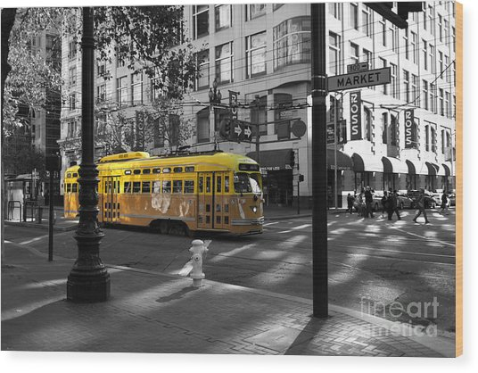 San Francisco Vintage Streetcar On Market Street - 5d19798 - Black And White And Yellow Wood Print