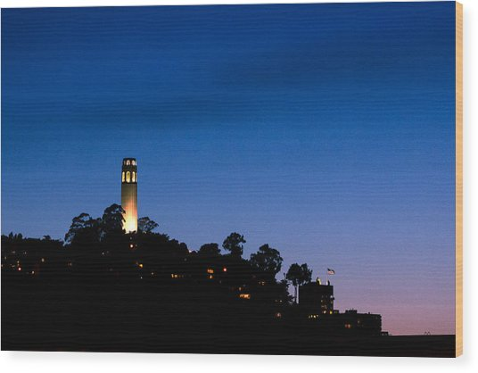 San Francisco's Coit Tower At Night Wood Print by SFPhotoStore
