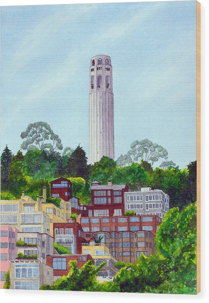 San Francisco's Coit Tower Wood Print