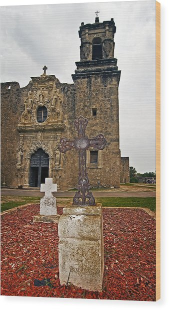 San Jose Mission Crosses Wood Print