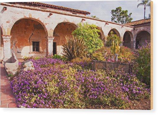 San Juan Capistrano Mission Flower Garden Wood Print