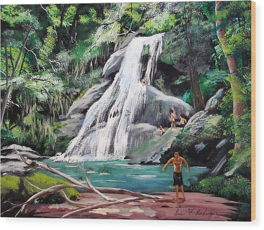 San Sebastian Waterfall Wood Print