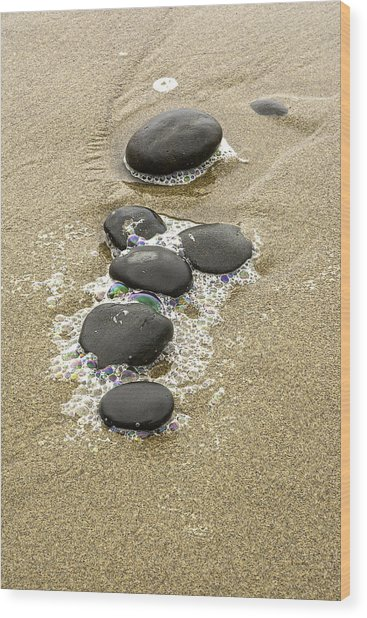 Sand And Stones Wood Print