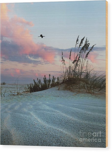 Sand And Sunset Wood Print