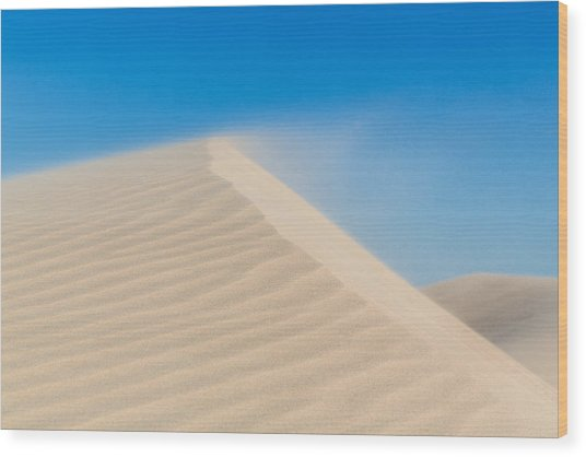 Sand Blowing Off A Dune Wood Print