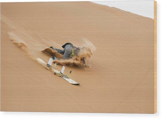 Sand-boarding The Saharan Sand Dunes, Merzouga, Morocco Wood Print by Paul Biris